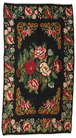 Kelim Rosen Moldavia Teppich  176X338 Echter Orientalischer Handgewebter Schwartz/Dunkelgrün (Wolle, Moldawien)
