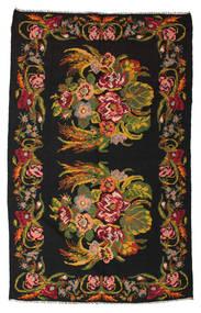Kelim Rosen Moldavia Teppich  184X295 Echter Orientalischer Handgewebter Schwartz/Dunkelrot (Wolle, Moldawien)