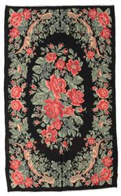 Kelim Rosen Moldavia Teppich  168X285 Echter Orientalischer Handgewebter Schwartz/Hellgrau (Wolle, Moldawien)