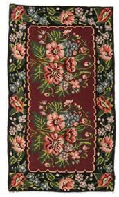 Kelim Rosen Moldavia Teppich  152X270 Echter Orientalischer Handgewebter Dunkelrot/Dunkelbraun (Wolle, Moldawien)