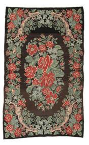 Kelim Rosen Moldavia Teppich  161X263 Echter Orientalischer Handgewebter Läufer Dunkelgrau/Hell Grün (Wolle, Moldawien)