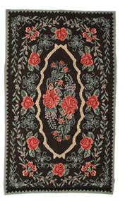 Kelim Rosen Moldavia Teppich  154X258 Echter Orientalischer Handgewebter Dunkelbraun/Dunkelgrau (Wolle, Moldawien)