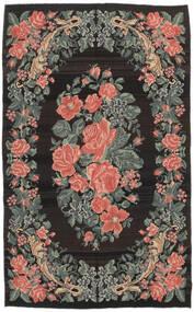 Kelim Rosen Moldavia Teppich  161X266 Echter Orientalischer Handgewebter Schwartz/Dunkelgrau (Wolle, Moldawien)
