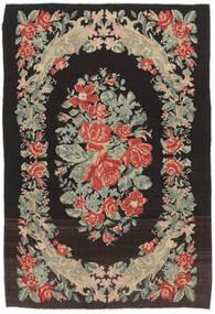 Kelim Rosen Moldavia Teppich  169X252 Echter Orientalischer Handgewebter Schwartz/Dunkel Beige (Wolle, Moldawien)