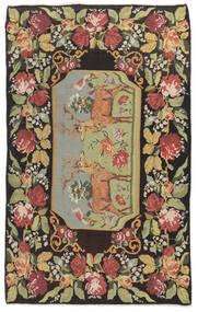 Kelim Rosen Moldavia Teppich 178X295 Echter Orientalischer Handgewebter Dunkelgrau/Dunkel Beige (Wolle, Moldawien)