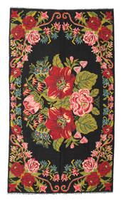 Kelim Rosen Moldavia Teppich  171X308 Echter Orientalischer Handgewebter Schwartz/Rot (Wolle, Moldawien)