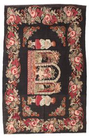 Kelim Rosen Moldavia Teppich  185X290 Echter Orientalischer Handgewebter Schwartz/Dunkelrot (Wolle, Moldawien)