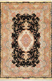 Täbriz 50 Raj Mit Seide Teppich  197X291 Echter Orientalischer Handgeknüpfter Dunkelbraun/Hellbraun (Wolle/Seide, Persien/Iran)