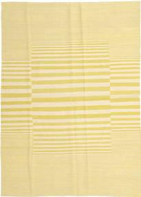 Kelim Modern Teppich  124X177 Echter Moderner Handgewebter Gelb/Beige (Wolle, Afghanistan)