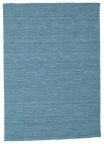 Kelim Loom - Blau Teppich  140X200 Echter Moderner Handgewebter Türkisblau/Blau (Wolle, Indien)