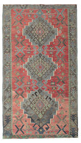 Kelim Halbantik Türkei Teppich  180X320 Echter Orientalischer Handgewebter Dunkelgrau/Rost/Rot (Wolle, Türkei)