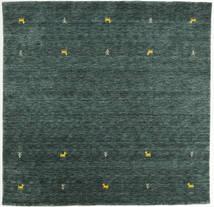 Gabbeh Loom Two Lines - Dunkelgrau/Grün Teppich  200X200 Moderner Quadratisch Dunkelgrün/Dunkel Türkis (Wolle, Indien)