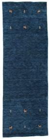 Gabbeh Loom Two Lines - Dunkelblau Teppich  80X250 Moderner Läufer Dunkelblau (Wolle, Indien)