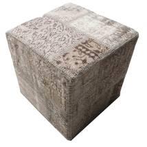 Patchwork Hocker/Ottoman Teppich 50X50 Echter Orientalischer Handgeknüpfter Quadratisch Hellgrau/Dunkelgrau (Wolle, Türkei)