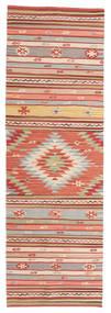Kelim Mersin Teppich 80X250 Echter Moderner Handgewebter Läufer Rost/Rot/Hellbraun (Wolle, Indien)