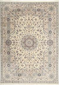 Nain 6La Habibian Teppich  242X348 Echter Orientalischer Handgeknüpfter Hellgrau/Beige (Wolle/Seide, Persien/Iran)