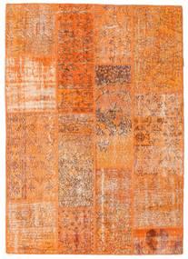 Patchwork Teppich 142X201 Echter Moderner Handgeknüpfter Orange/Hellbraun (Wolle, Türkei)