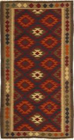 Kelim Maimane Teppich 97X198 Echter Orientalischer Handgewebter Dunkelbraun/Dunkelrot (Wolle, Afghanistan)