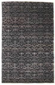 Damask Teppich  164X255 Echter Moderner Handgeknüpfter Schwartz/Dunkelbraun ( Indien)