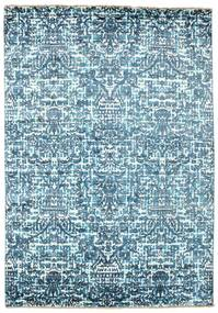 Damask Teppich  170X244 Echter Moderner Handgeknüpfter Hellblau/Blau ( Indien)