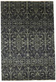 Damask Teppich  174X257 Echter Moderner Handgeknüpfter Dunkelgrau/Schwartz ( Indien)
