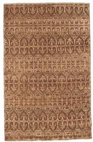 Damask Teppich  114X181 Echter Moderner Handgeknüpfter Braun/Hellbraun ( Indien)