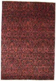 Damask Teppich  172X244 Echter Moderner Handgeknüpfter Dunkelrot/Braun ( Indien)
