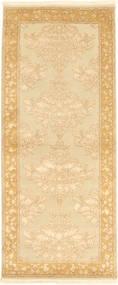 Täbriz Royal Magic Teppich  83X201 Echter Orientalischer Handgeknüpfter Läufer Dunkel Beige/Beige ( Indien)