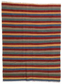 Kelim Teppich  169X223 Echter Orientalischer Handgewebter Dunkelrot/Dunkelgrau (Wolle, Persien/Iran)