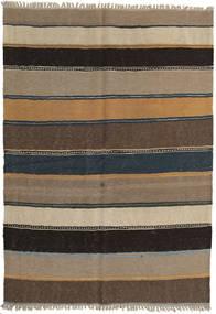 Kelim Teppich  142X203 Echter Orientalischer Handgewebter Hellgrau/Hellbraun/Dunkelgrau/Schwartz (Wolle, Persien/Iran)