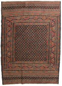 Kelim Golbarjasta Teppich 132X188 Echter Orientalischer Handgewebter Dunkelbraun/Braun (Wolle, Afghanistan)