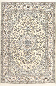 Nain 6La Habibian Teppich  207X307 Echter Orientalischer Handgeknüpfter Hellgrau/Weiß/Creme (Wolle/Seide, Persien/Iran)