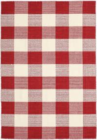 Check Kilim - Rot/Weiß Teppich  160X230 Echter Moderner Handgewebter Rot/Beige/Hellrosa (Wolle, Indien)