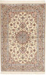 Isfahan Seidenkette Davudi Teppich  130X202 Echter Orientalischer Handgeknüpfter Beige/Hellgrau (Wolle/Seide, Persien/Iran)