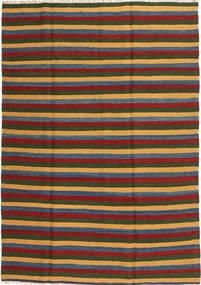 Kelim Teppich  161X230 Echter Orientalischer Handgewebter Dunkelgrün/Rost/Rot (Wolle, Persien/Iran)
