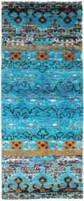 Quito - Türkis Teppich  80X200 Echter Moderner Handgeknüpfter Läufer Türkisblau/Hellgrau (Seide, Indien)