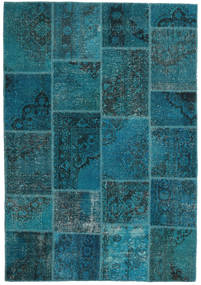 Patchwork Teppich  159X230 Echter Moderner Handgeknüpfter Dunkelblau/Dunkel Türkis (Wolle, Türkei)