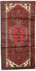 Hamadan Teppich  95X187 Echter Orientalischer Handgeknüpfter Dunkelrot/Rost/Rot (Wolle, Persien/Iran)