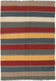 Kelim Teppich 135X197 Echter Orientalischer Handgewebter Dunkelrot/Blau (Wolle, Persien/Iran)