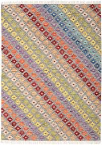 Spring Kelim Teppich 210X290 Echter Moderner Handgewebter Hellgrau/Dunkel Beige (Wolle, Indien)