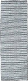 Kelim Honey Comb - Blau Teppich  80X240 Echter Moderner Handgewebter Läufer Hellblau/Hellgrau (Wolle, Indien)