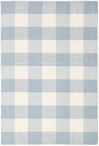 Check Kilim Teppich  120X180 Echter Moderner Handgewebter Weiß/Creme/Hellblau/Beige (Wolle, Indien)