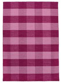 Check Kilim Teppich  210X290 Echter Moderner Handgewebter Rosa/Hellrosa (Wolle, Indien)