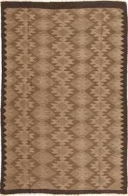 Kelim Teppich  156X244 Echter Orientalischer Handgewebter Braun/Dunkelbraun (Wolle, Persien/Iran)