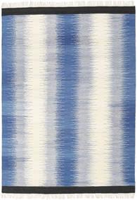 Ikat - Blau Teppich  160X230 Echter Moderner Handgewebter Blau/Beige (Wolle, Indien)