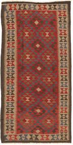Kelim Maimane Teppich 97X194 Echter Orientalischer Handgewebter Dunkelbraun/Hellbraun (Wolle, Afghanistan)