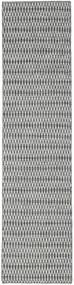 Kelim Long Stitch - Schwarz/Grau Teppich  80X340 Echter Moderner Handgewebter Läufer Hellgrau/Türkisblau (Wolle, Indien)