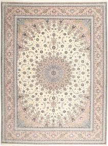 Isfahan Seidenkette Teppich 315X420 Echter Orientalischer Handgeknüpfter Hellgrau/Beige Großer (Wolle/Seide, Persien/Iran)