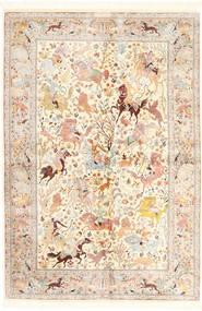 Ghom Seide Teppich  140X211 Echter Orientalischer Handgeknüpfter Beige/Hellrosa (Seide, Persien/Iran)