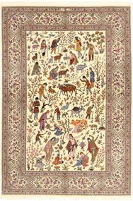 Ilam Sherkat Farsh Seide Teppich 150X220 Echter Orientalischer Handgeknüpfter Beige/Braun/Hellbraun (Wolle/Seide, Persien/Iran)